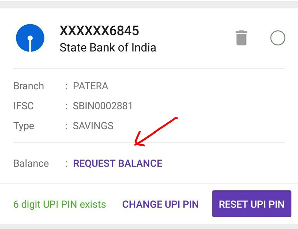 Balance Check Option