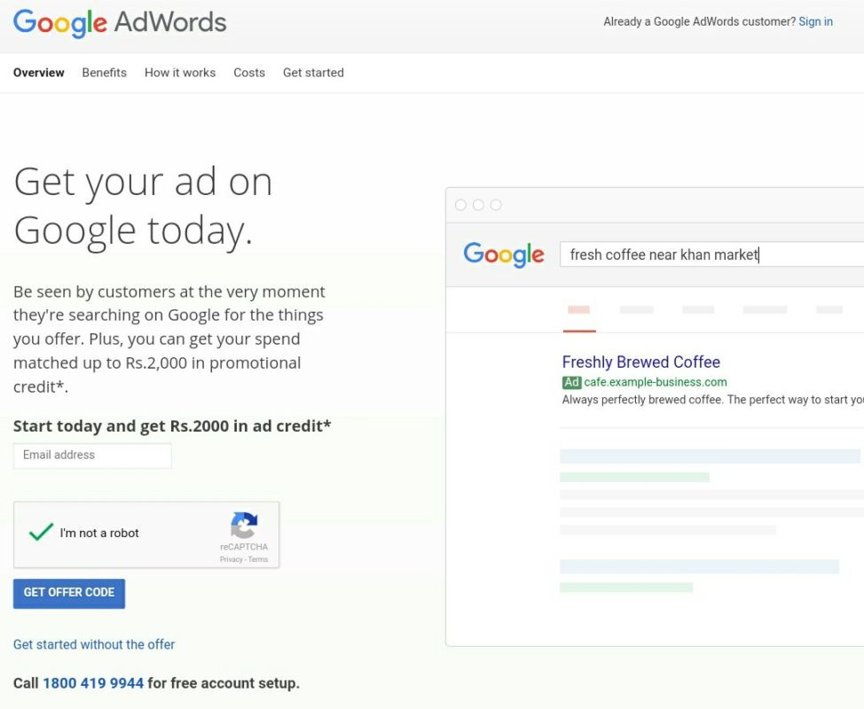 Create AdWords account