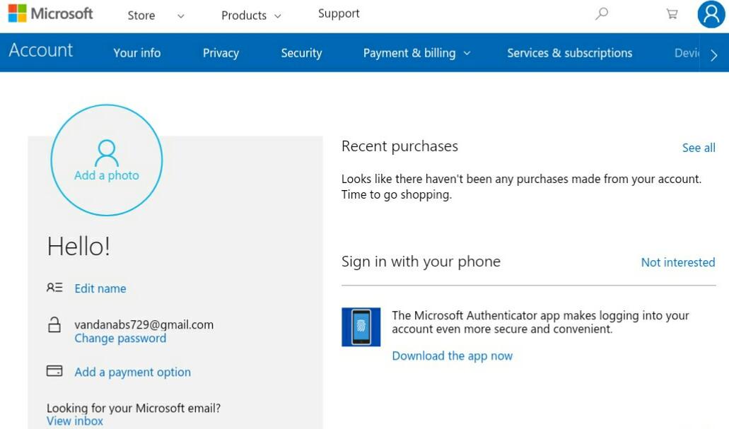 Microsoft account