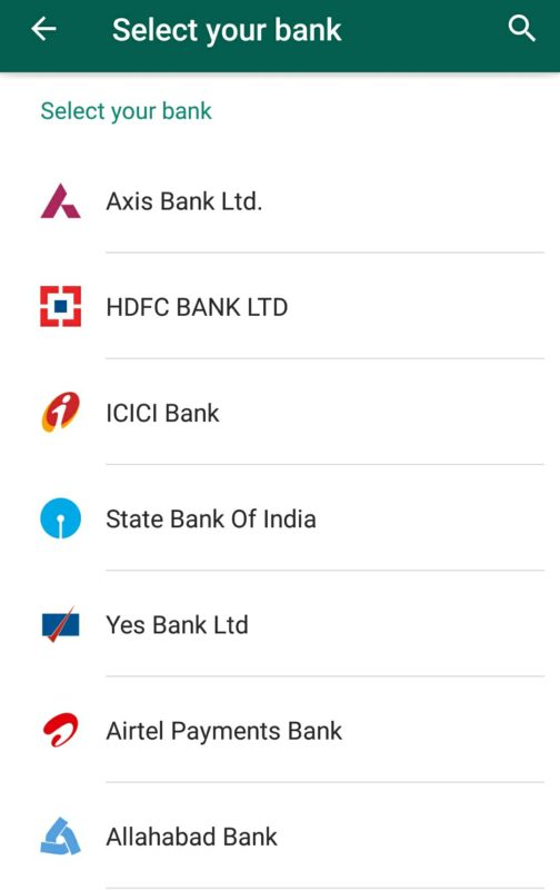 Add bank in whastapp account