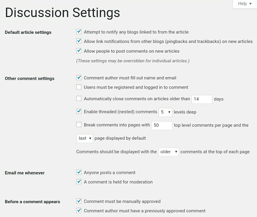 Discussion WordPress Settings