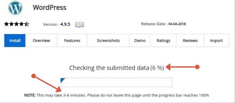 Wordpress installation under process