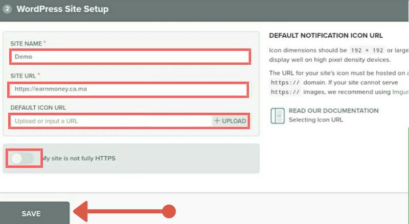Web push notification setup