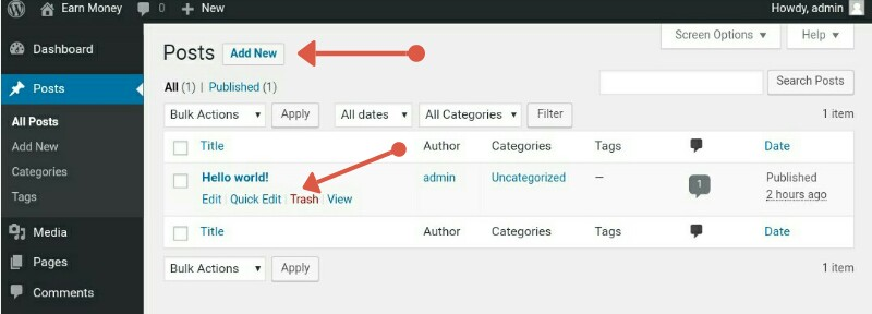 Create new blog post in wordpress
