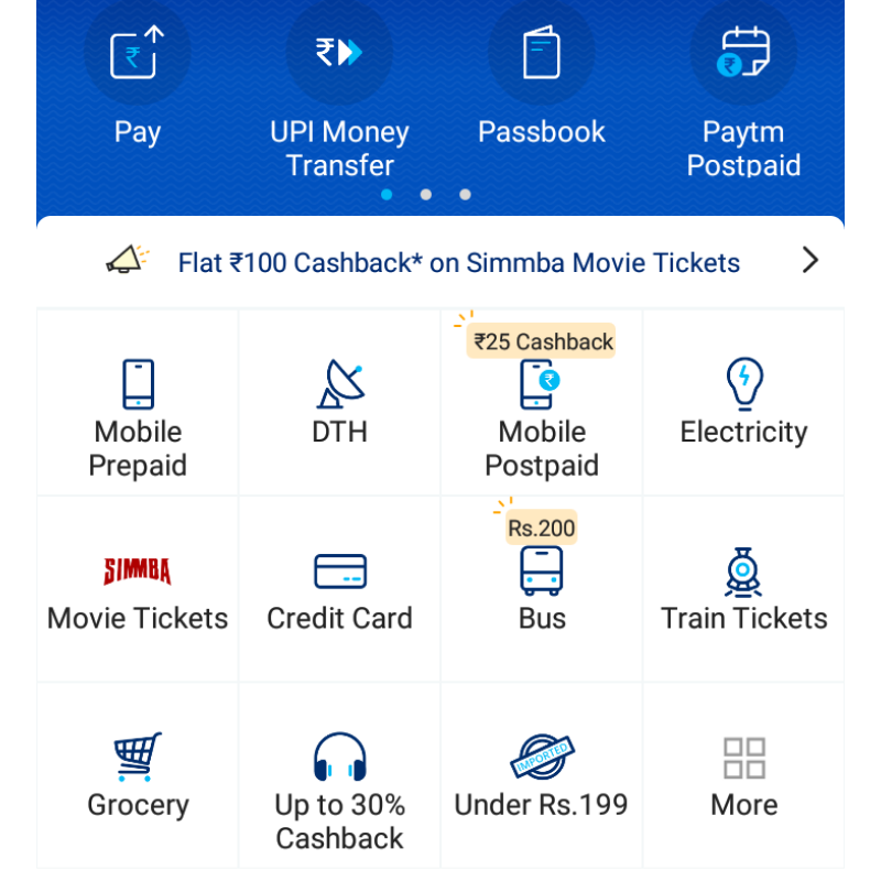 Paytm App Home Page