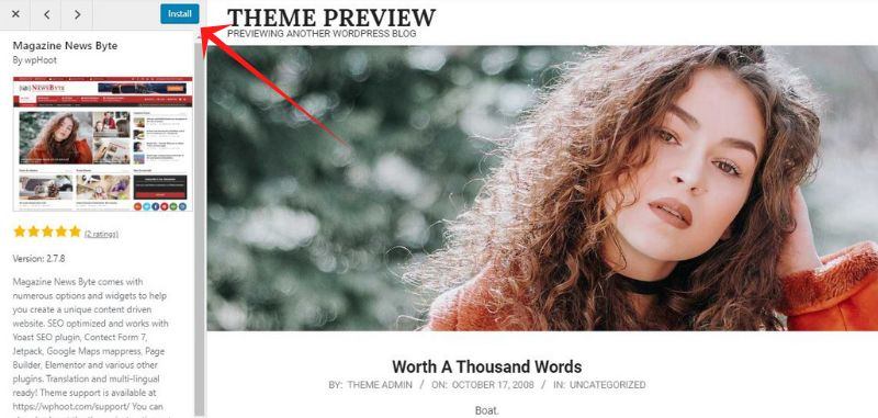 Install theme in wordpress site