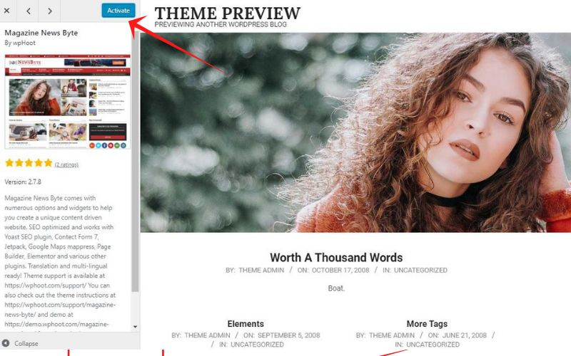 activate theme in wordpress site