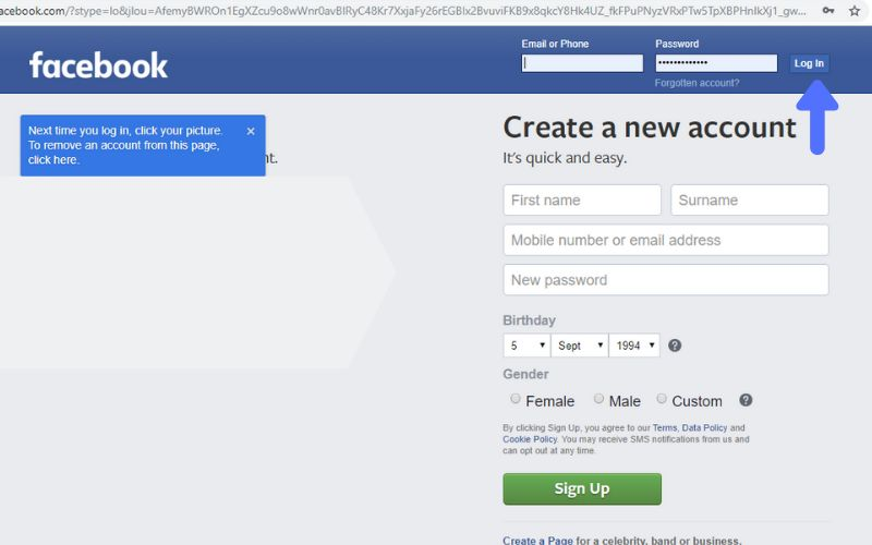 facebook id log in