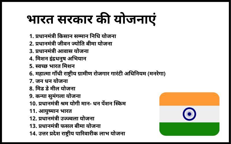 भारत सरकार की योजनाएं