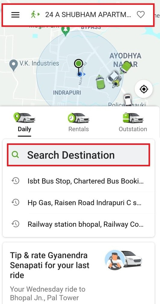 Ola Search Destination