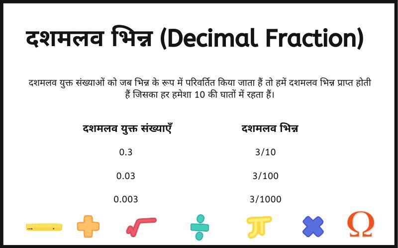दशमलव भिन्न के सूत्र, नियम, महत्वपूर्ण सर्वसमिकाए और उदाहरण